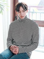1区2017冬季新款韩国服装boomstyle品牌男士条纹舒适魅力T恤(2017.11月)