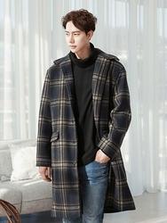 1区2017冬季新款韩国服装boomstyle品牌男士舒适魅力格纹时尚大衣(2017.12月)