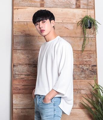 1区韩国本土服装代购(韩国圆通直发)boomstyle-韩版宽松九分袖T恤(2018-04-14上架)