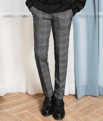 boomstyle-韩版舒适格子长裤