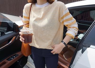 1区韩国本土服装代购(韩国圆通直发)candyglow-韩版条纹新款T恤(2018-04-16上架)