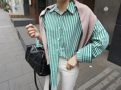 candyglow-时尚流行条纹衬衫