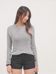 1区韩国代购正品验证cherrykoko-CHKN00755808-流行魅力韩版纯色针织衫