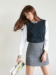 1区韩国代购正品验证cherrykoko-CHSS00766041-明朗魅力韩版纯色短裙