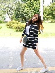 1区韩国代购正品验证cherrykoko-CHOP00766020-明朗韩版条纹新款连衣裙