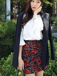 1区韩国代购正品验证cherrykoko-CHSS00766021-淑女魅力韩版花纹短裙