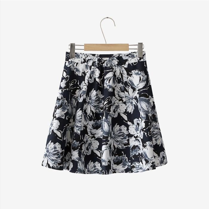 代购韩国发货|cherrykoko官网韩国时尚流行很大的花纹图案短裙(2017.