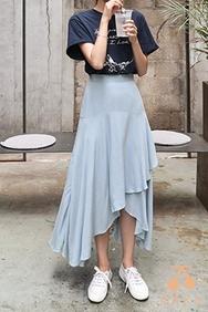 cherrykoko-韩国时尚宽松褶皱韩国代购长裙女装2017年08月09日08月款