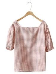 cherrykoko-韩国时尚可爱格纹韩国代购正品衬衫女装2017年08月09日08月款