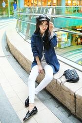 1区韩国代购正品验证cherryville-CVJK00756104-流行魅力韩版纯色牛仔夹克