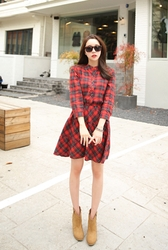 1区韩国代购正品验证cherryville-CVOP00761732-时尚魅力韩版格纹连衣裙