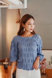 cherryville-韩国方领时尚纯色个性韩国代购正品衬衫女装2017年08月07日08月款