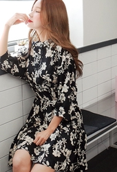 cherryville-韩国韩版花纹优雅流行韩国代购正品连衣裙女装2017年08月14日08月款