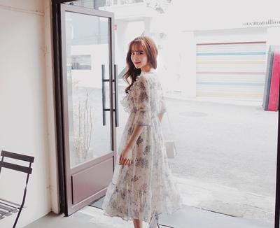 1区韩国本土服装代购(韩国圆通直发)cherryville-花纹时尚新款韩版连衣裙(2018-04-20上架)
