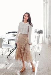 2018新款韩国服装cherryville品牌花纹时尚魅力流行长裙(2018.1月)