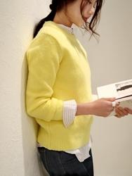 1区韩国代购正品验证chichera-CRKN00830532-简约厚款糖果色针织衫