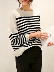 1区韩国代购正品验证chichera-CRKN00830523-时尚条纹宽松百搭针织衫