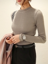 1区韩国代购正品验证chichera-CRKN00830526-竹节简约修身半高领针织衫