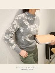 1区韩国代购正品验证chichera-CRKN00830521-树叶纹甜美厚款针织衫