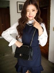 1区韩国代购正品验证chuu-UUOP00779777-淑女魅力韩版条纹连衣裙
