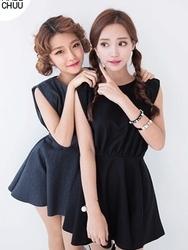 1区韩国代购正品验证chuu-UUOP00782857-淑女魅力韩版纯色连衣裙(制作商品)