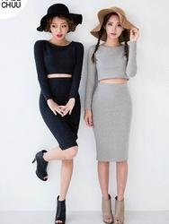 1区韩国代购正品验证chuu-UUOP00782856-淑女魅力韩版纯色连衣裙