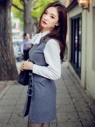 1区韩国代购正品验证chuu-UUOP00783312-优雅魅力韩版新款条纹连衣裙