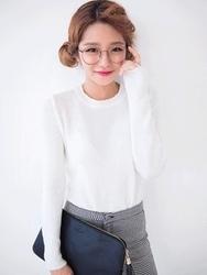 1区韩国代购正品验证chuu-UUKN00784273-流行魅力韩版纯色针织衫