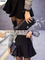 1区韩国代购正品验证chuu-UUSS00785082-时尚魅力韩版纯色短裙