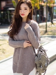 1区韩国代购正品验证chuu-UUKN00785086-时尚魅力韩版纯色针织衫