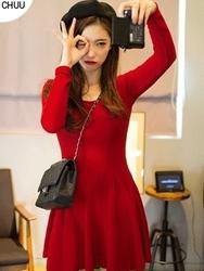 1区韩国代购正品验证chuu-UUOP00785089-性感魅力韩版纯色连衣裙