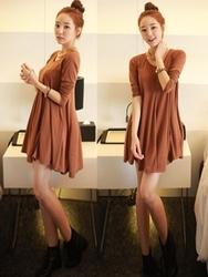 1区韩国代购正品验证chuu-UUOP00787299-流行魅力韩版纯色连衣裙