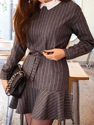 1区韩国代购正品验证chuu-UUOP00788886-淑女魅力韩版条纹连衣裙