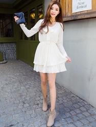 1区韩国代购正品验证chuu-UUOP00849206-淑女魅力韩版纯色连衣裙