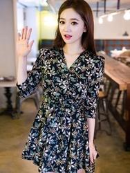 1区韩国代购正品验证chuu-UUOP00849207-淑女魅力韩版花纹连衣裙