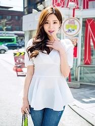 1区韩国代购货源 韩国官网正品chuu-UUBL00872871-优雅魅力韩版纯色衬衫