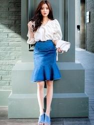 1区韩国代购货源|韩国官网正品chuu-UUMS00876296-时尚魅力韩版牛仔中裙