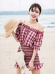 1区韩国代购货源|韩国官网正品chuu-UUOP00880439-明朗魅力韩版格纹连衣裙