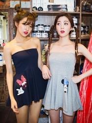 1区韩国代购货源|韩国官网正品chuu-UUOP00883273-可爱淑女韩版米老鼠图案连衣裙