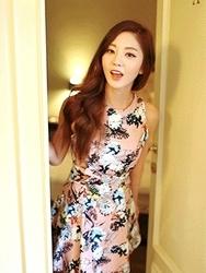 1区韩国代购货源|韩国官网正品chuu-UUOP00900359-花纹圆领后拉链无袖连衣裙