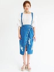 1区韩国代购货源|韩国官网正品chuu-UULS00901999-明朗纯色韩版背带牛仔长裙
