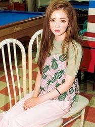 1区韩国代购货源|韩国官网正品chuu-UUKN00901994-纯色半高领短袖新款针织衫