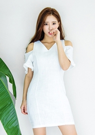 1区韩国代购货源|韩国官网正品chuu-UUOP00904480-V领纯色中袖后拉链连衣裙