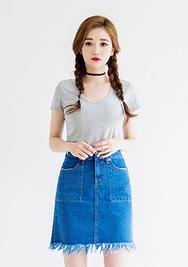 1区韩国代购货源|韩国官网正品chuu-UUSS00905178-纯色韩版夏季牛仔短裙
