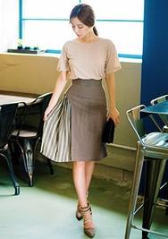 1区韩国服装网店代理一件代发chuu-UUMS00919068-条纹韩版时尚新款中裙