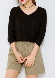 1区韩国服装网店代理一件代发chuu-UUSP00919069-纯色直筒韩版夏季短裤