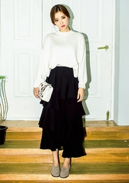 1区韩国服装网店代理一件代发chuu-UUKN00924683-纯色圆领长袖韩版针织衫