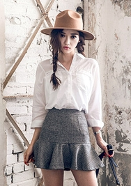 1区韩国服装网店代理一件代发chuu-UUBL00926314-POLO领单排扣长袖纯色衬衫