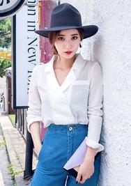 1区韩国服装网店代理一件代发chuu-UUBL00926754-纯色双排扣西装领长袖衬衫