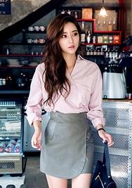 1区韩国服装网店代理一件代发chuu-UUBL00927024-优雅纯色韩版新款衬衫